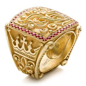 Cross and Crown Hand Carved Men's Ring - Image