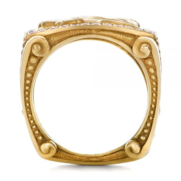 18k Yellow Gold Cross And Crown Hand Carved Men's Ring - Front View -