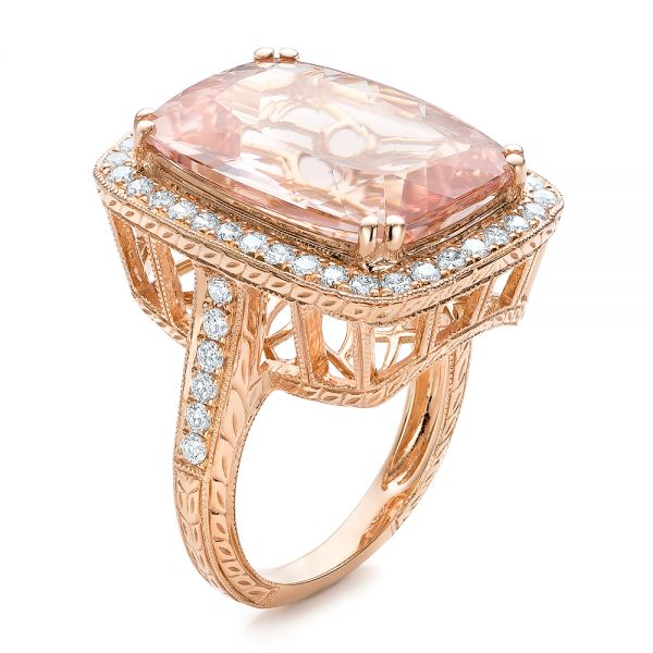 Cushion Morganite And Diamond Halo Fashion Ring - Three-Quarter View -