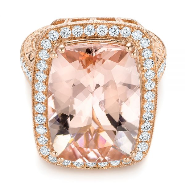Cushion Morganite And Diamond Halo Fashion Ring - Flat View -