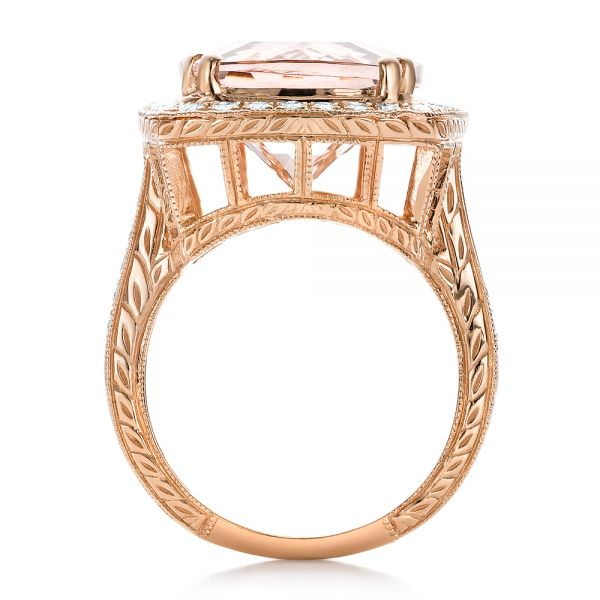 Cushion Morganite And Diamond Halo Fashion Ring - Front View -