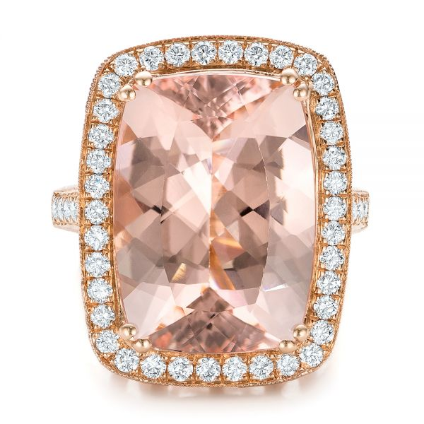 Cushion Morganite And Diamond Halo Fashion Ring - Top View -