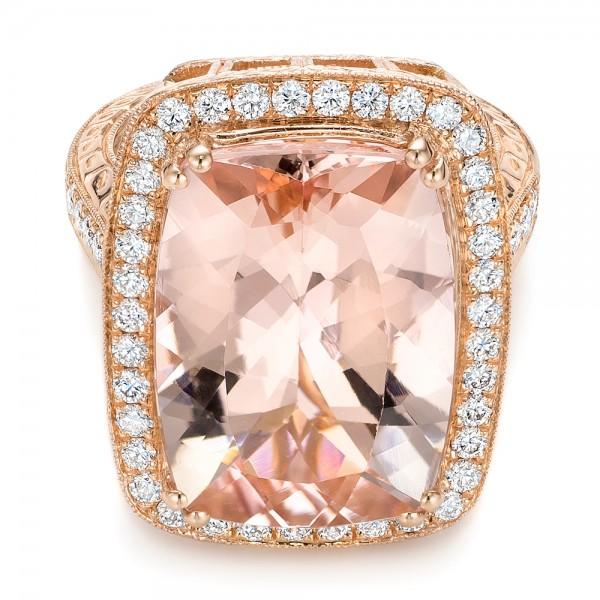 Cushion Morganite and Diamond Halo Fashion Ring - Laying View