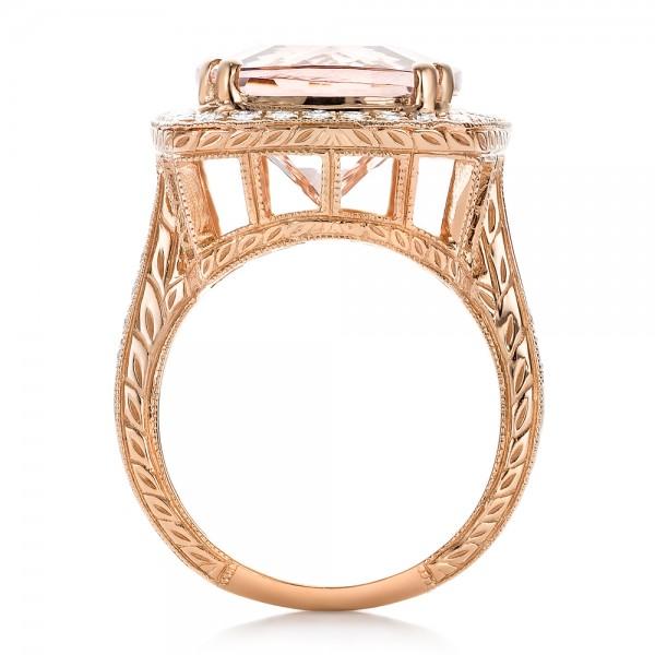 Cushion Morganite and Diamond Halo Fashion Ring - Finger Through View