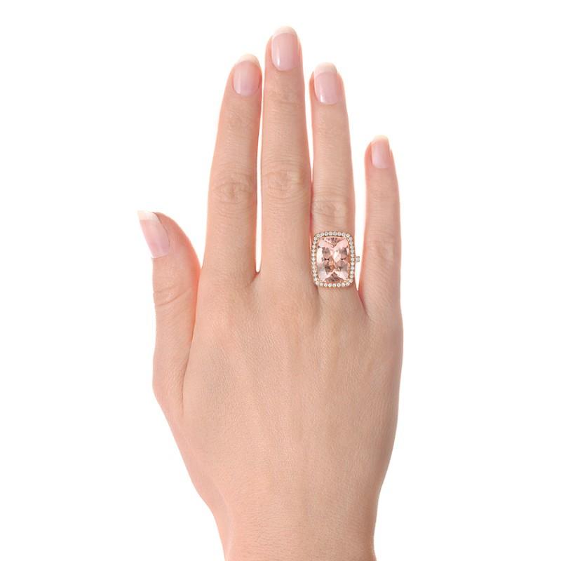 Cushion Morganite and Diamond Halo Fashion Ring - Model View