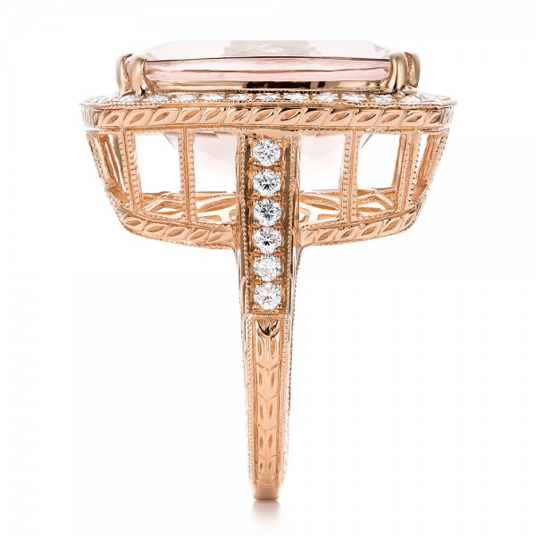Cushion Morganite and Diamond Halo Fashion Ring - Side View