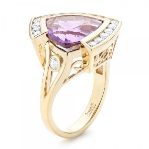 Custom Amethyst and Diamond Fashion Ring