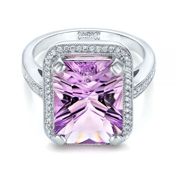 14k White Gold Custom Amethyst And Diamond Fashion Ring - Flat View -