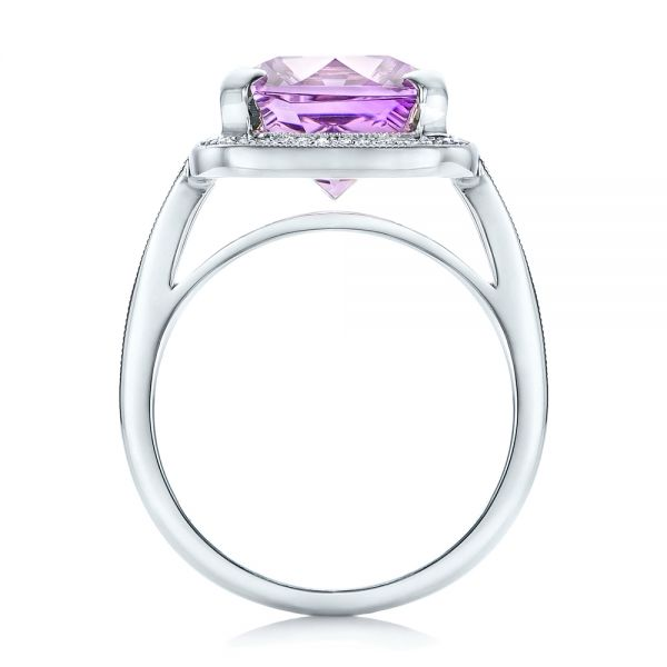 14k White Gold Custom Amethyst And Diamond Fashion Ring - Front View -