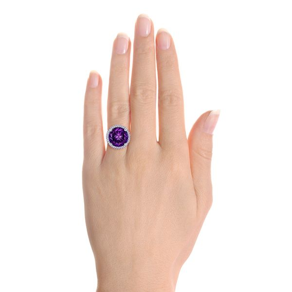 14k White Gold Custom Amethyst And Diamond Fashion Ring - Hand View -