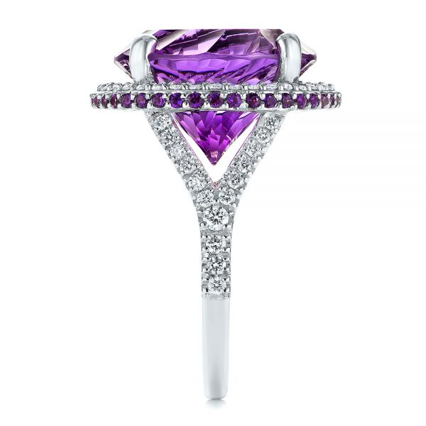 14k White Gold Custom Amethyst And Diamond Fashion Ring - Side View -
