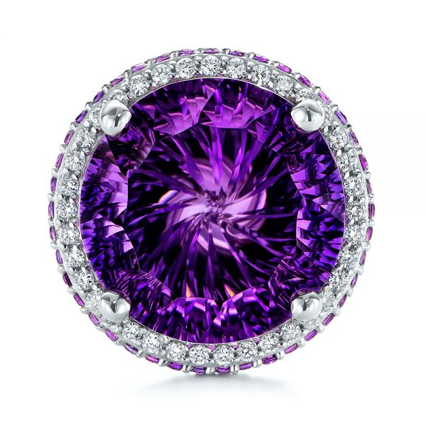 14k White Gold Custom Amethyst And Diamond Fashion Ring - Top View -