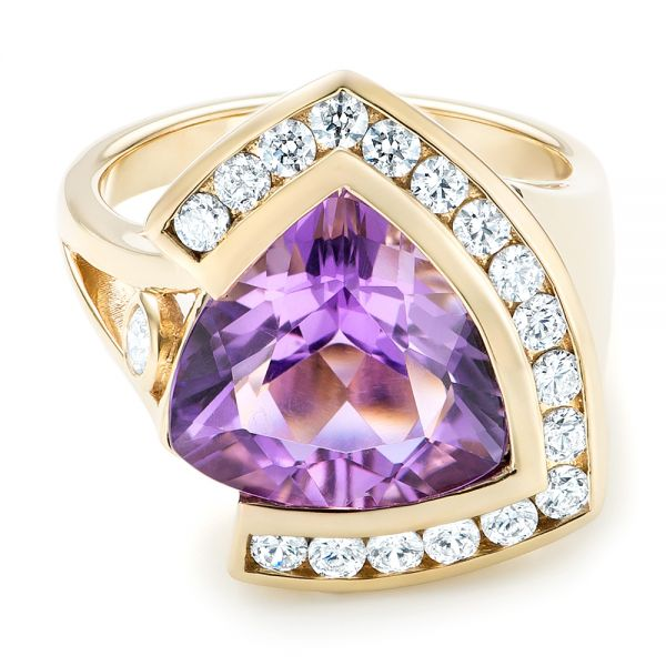 14k Yellow Gold Custom Amethyst And Diamond Fashion Ring - Flat View -  102958