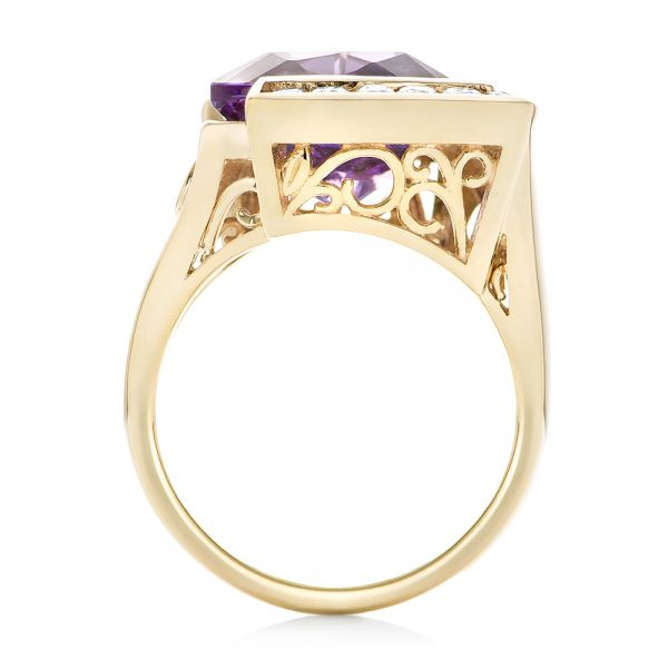 14k Yellow Gold Custom Amethyst And Diamond Fashion Ring - Front View -  102958
