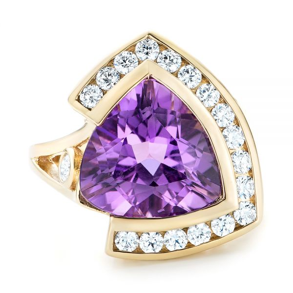 14k Yellow Gold Custom Amethyst And Diamond Fashion Ring - Top View -  102958