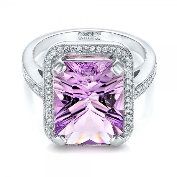 Custom Amethyst and Diamond Fashion Ring - Laying View