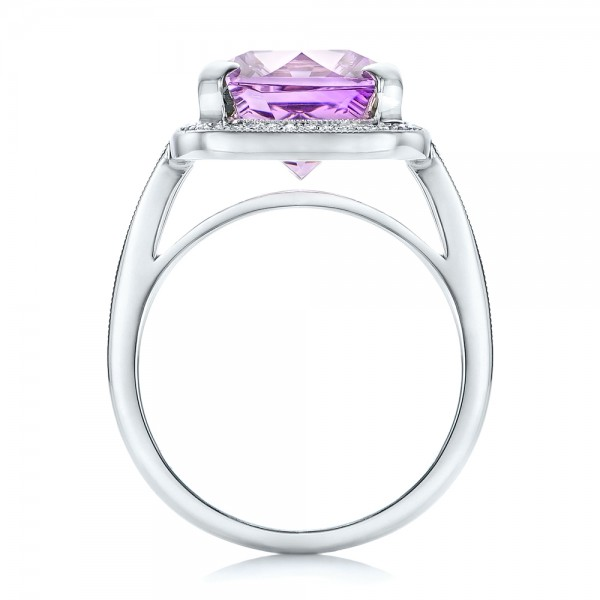 Custom Amethyst and Diamond Fashion Ring - Front View -  102155 - Thumbnail