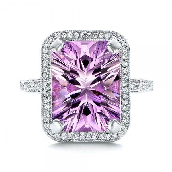 Custom Amethyst and Diamond Fashion Ring - Top View