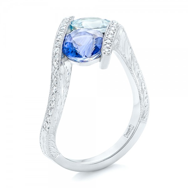 Custom Aquamarine, Blue Sapphire and Diamond Fashion Ring