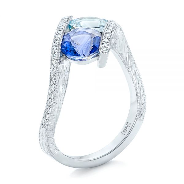 Custom Aquamarine, Blue Sapphire and Diamond Fashion Ring - Image