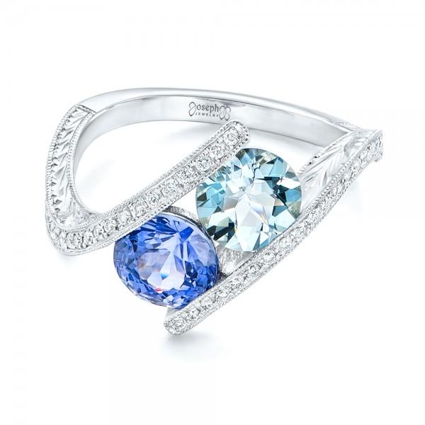 Custom Aquamarine, Blue Sapphire and Diamond Fashion Ring - Laying View