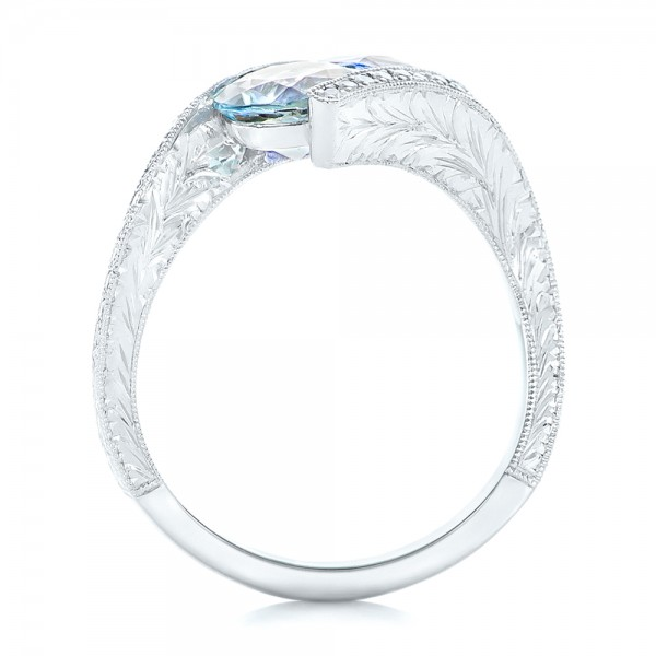 Custom Aquamarine, Blue Sapphire and Diamond Fashion Ring - Finger Through View