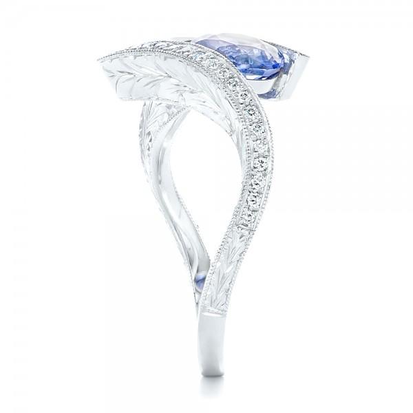 Custom Aquamarine, Blue Sapphire and Diamond Fashion Ring - Side View