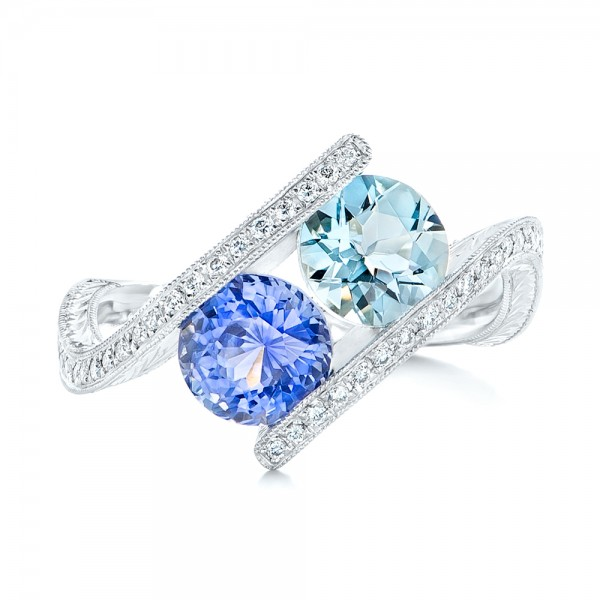 Custom Aquamarine, Blue Sapphire and Diamond Fashion Ring - Top View