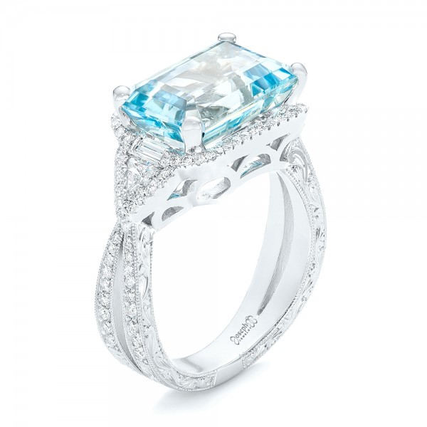 Custom Aquamarine and Diamond Fashion Ring