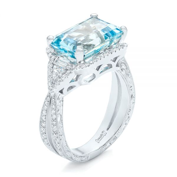 Custom Aquamarine and Diamond Fashion Ring - Image