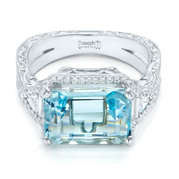 14k White Gold Custom Aquamarine And Diamond Fashion Ring - Flat View -