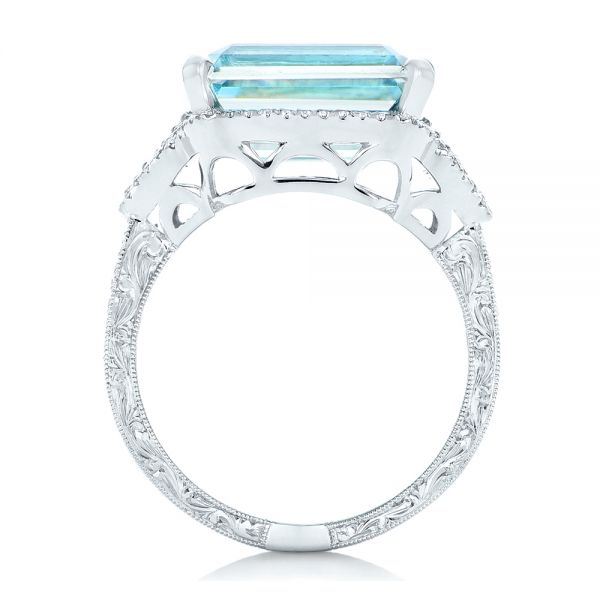 14k White Gold Custom Aquamarine And Diamond Fashion Ring - Front View -