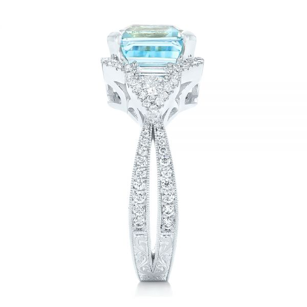 14k White Gold Custom Aquamarine And Diamond Fashion Ring - Side View -