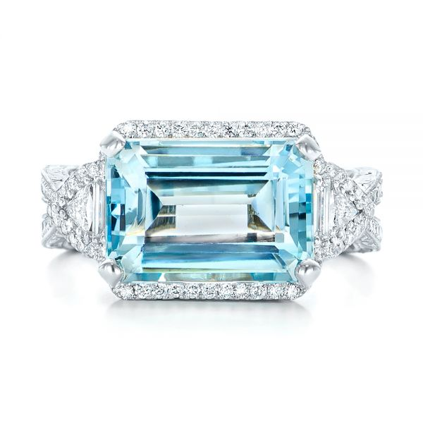 14k White Gold Custom Aquamarine And Diamond Fashion Ring - Top View -