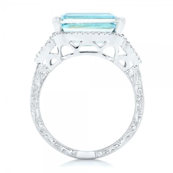 Custom Aquamarine and Diamond Fashion Ring - Finger Through View