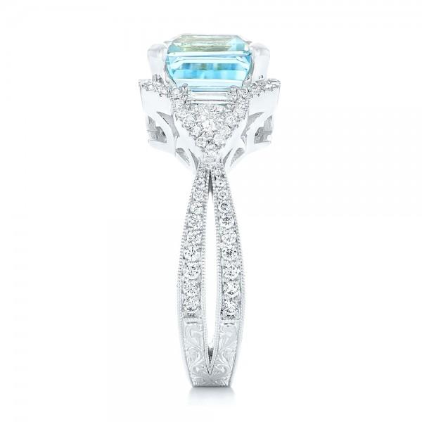 Custom Aquamarine and Diamond Fashion Ring - Side View
