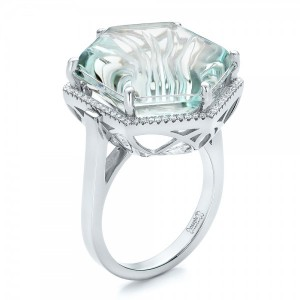 Custom Aquamarine and Diamond Halo Fashion Ring