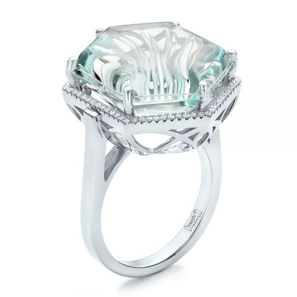 Custom Aquamarine and Diamond Halo Fashion Ring - Image