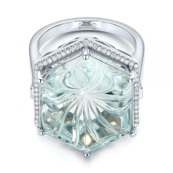 Platinum Custom Aquamarine And Diamond Halo Fashion Ring