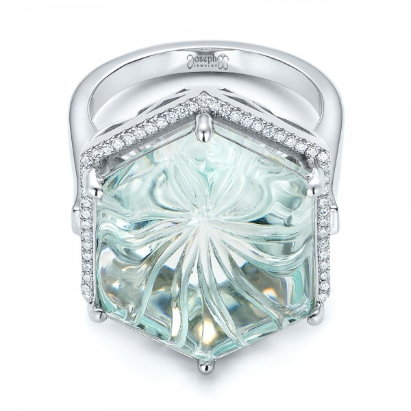 custom aquamarine and diamond halo fashion ring 101686