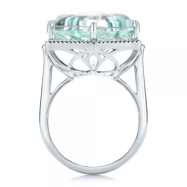 Custom Aquamarine and Diamond Halo Fashion Ring - Finger Through View