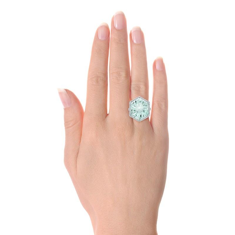 Custom Aquamarine and Diamond Halo Fashion Ring - Model View