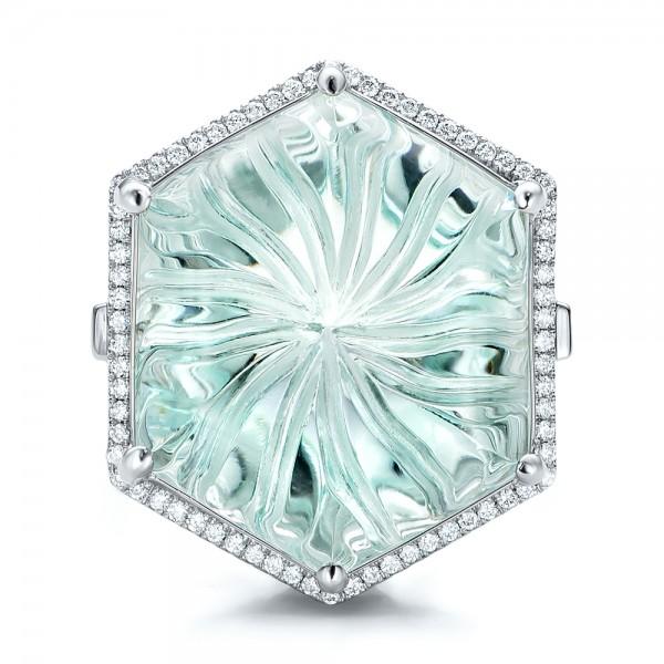 Custom Aquamarine and Diamond Halo Fashion Ring - Top View