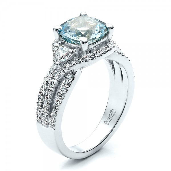Custom Aquamarine and Diamond Ring