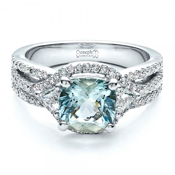 Custom Aquamarine and Diamond Ring - Laying View