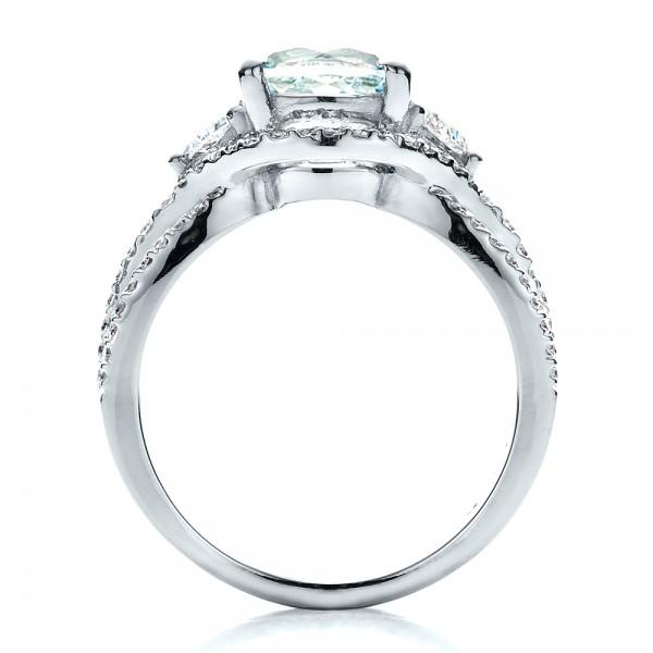 Custom Aquamarine and Diamond Ring - Finger Through View