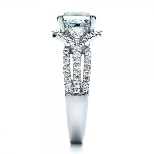 Custom Aquamarine and Diamond Ring - Side View