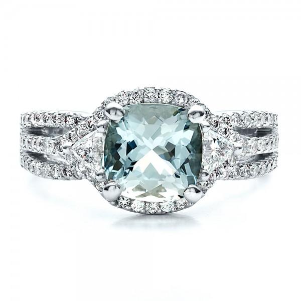Custom Aquamarine and Diamond Ring - Top View