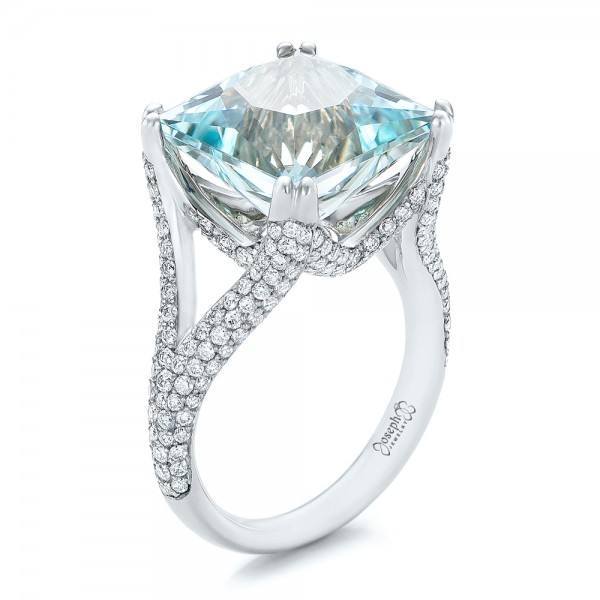 Custom Aquamarine and Pave Diamond Ring - Three-Quarter View -  101982 - Thumbnail