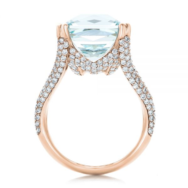 18k Rose Gold 18k Rose Gold Custom Aquamarine And Pave Diamond Ring - Front View -  101982